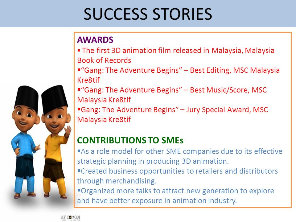 SUCCESS STORIES AWARDS CONTRIBUTIONS TO SMEs