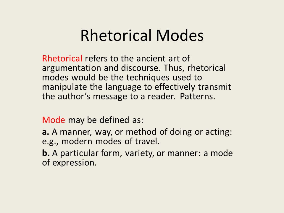 essay on rhetorical modes