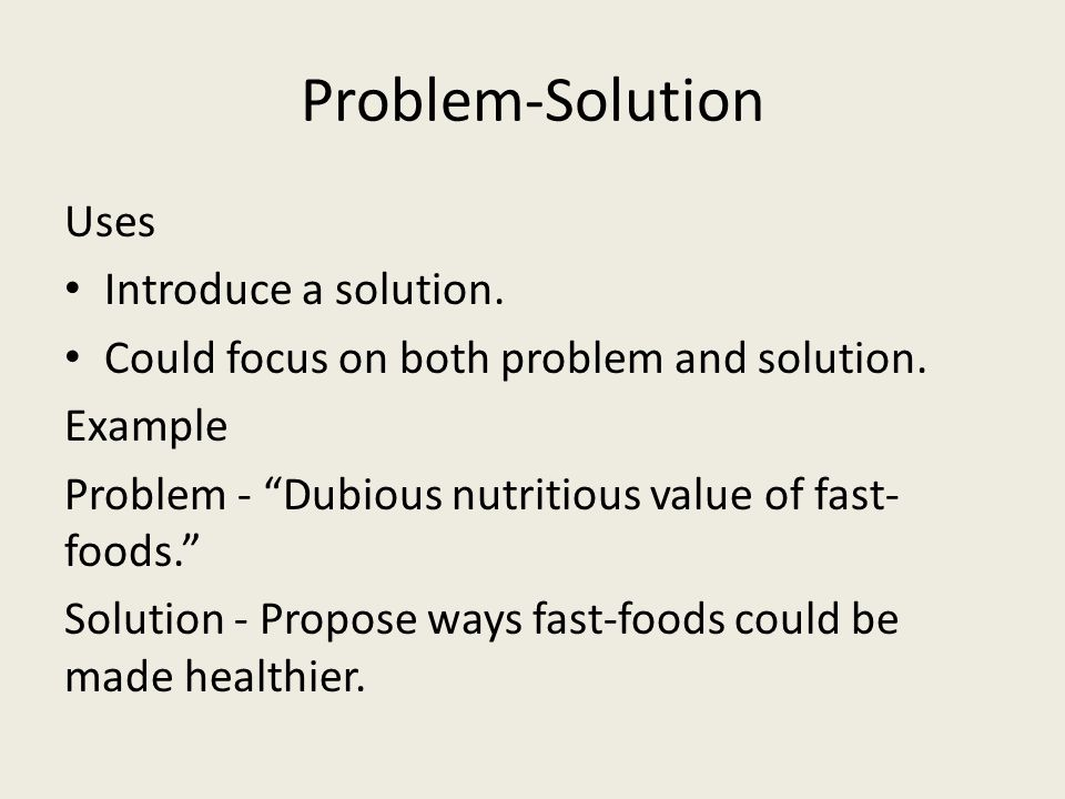 Problem-Solution Uses Introduce a solution.