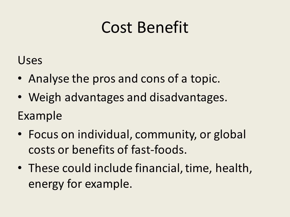 Cost Benefit Uses Analyse the pros and cons of a topic.