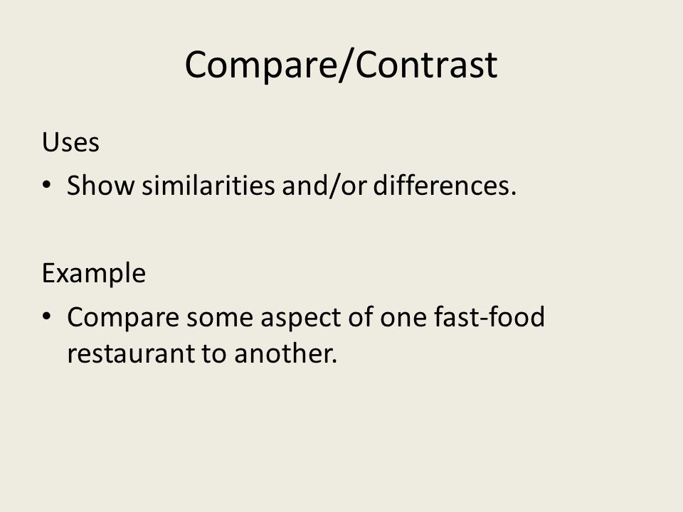 Compare/Contrast Uses Show similarities and/or differences. Example