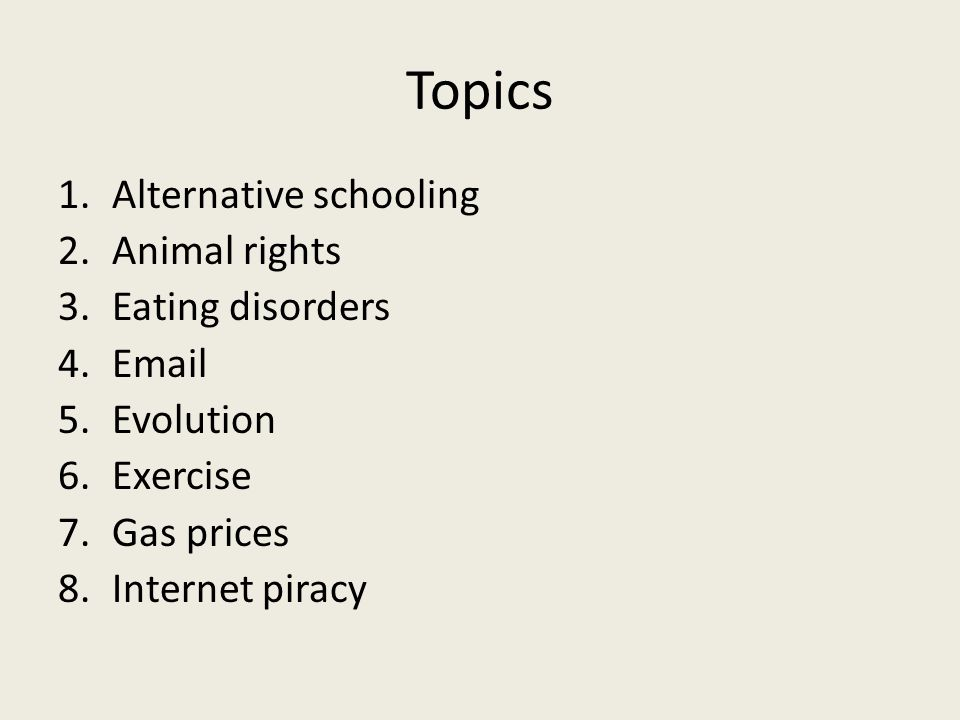 Topics Alternative schooling Animal rights Eating disorders Email