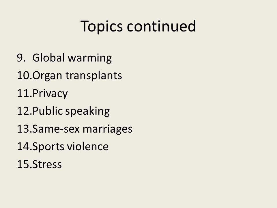 Topics continued Global warming Organ transplants Privacy