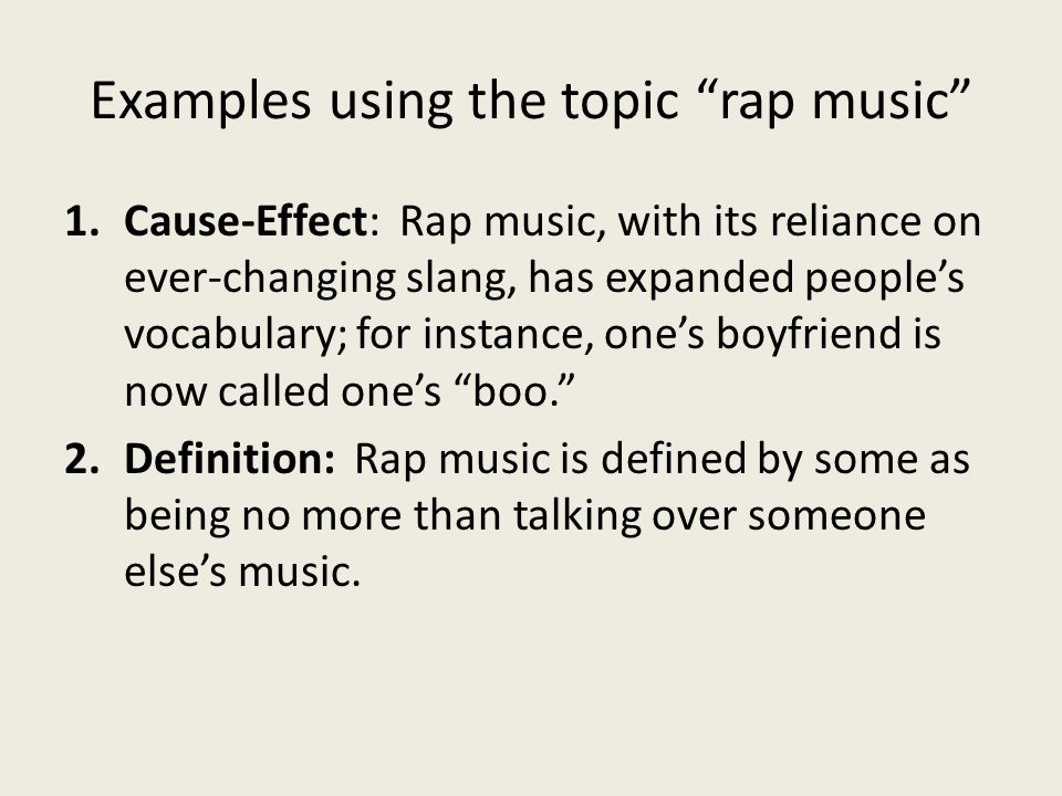 Examples using the topic rap music