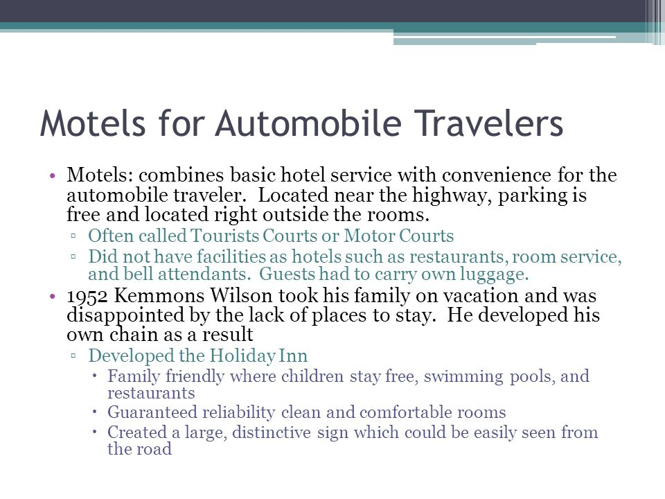 Motels for Automobile Travelers