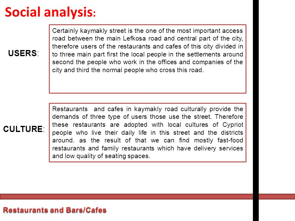 Social analysis: USERS: CULTURE: Restaurants and Bars/Cafes