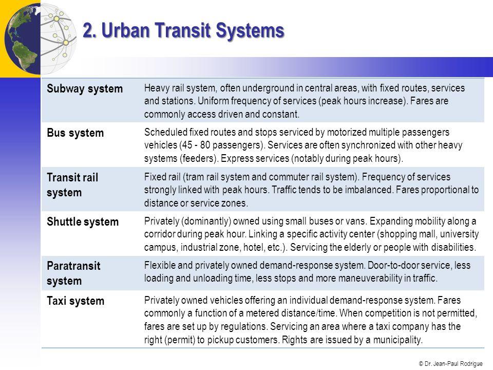 2. Urban Transit Systems Subway system Bus system Transit rail system