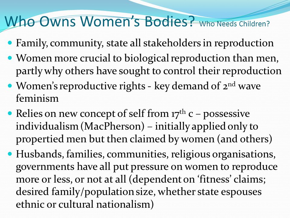 Who Owns Women's Bodies Who Needs Children
