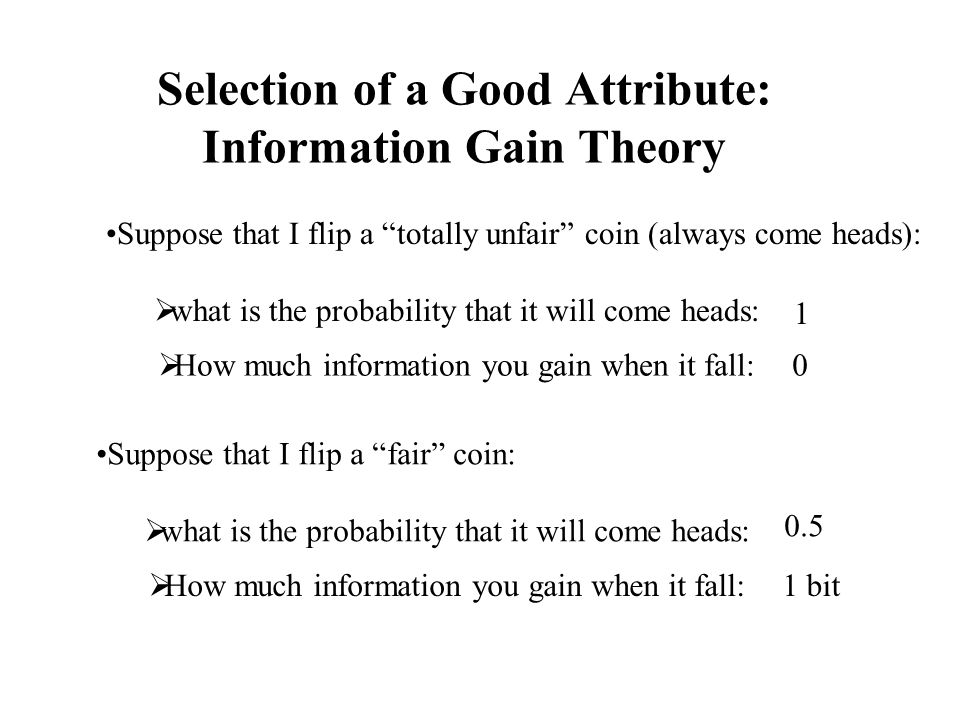 Selection of a Good Attribute: Information Gain Theory
