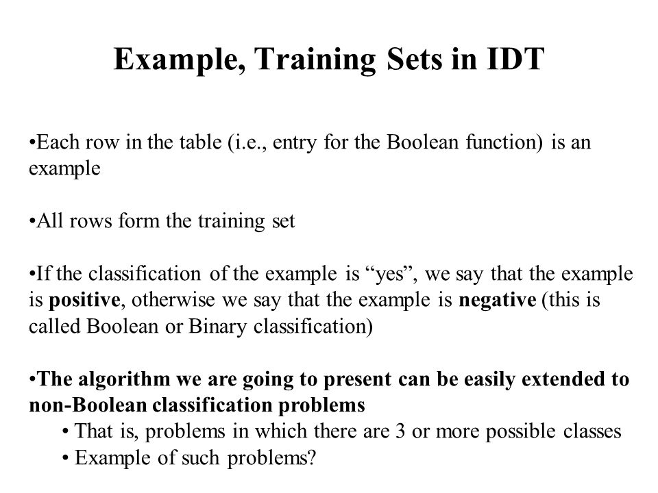 Example, Training Sets in IDT