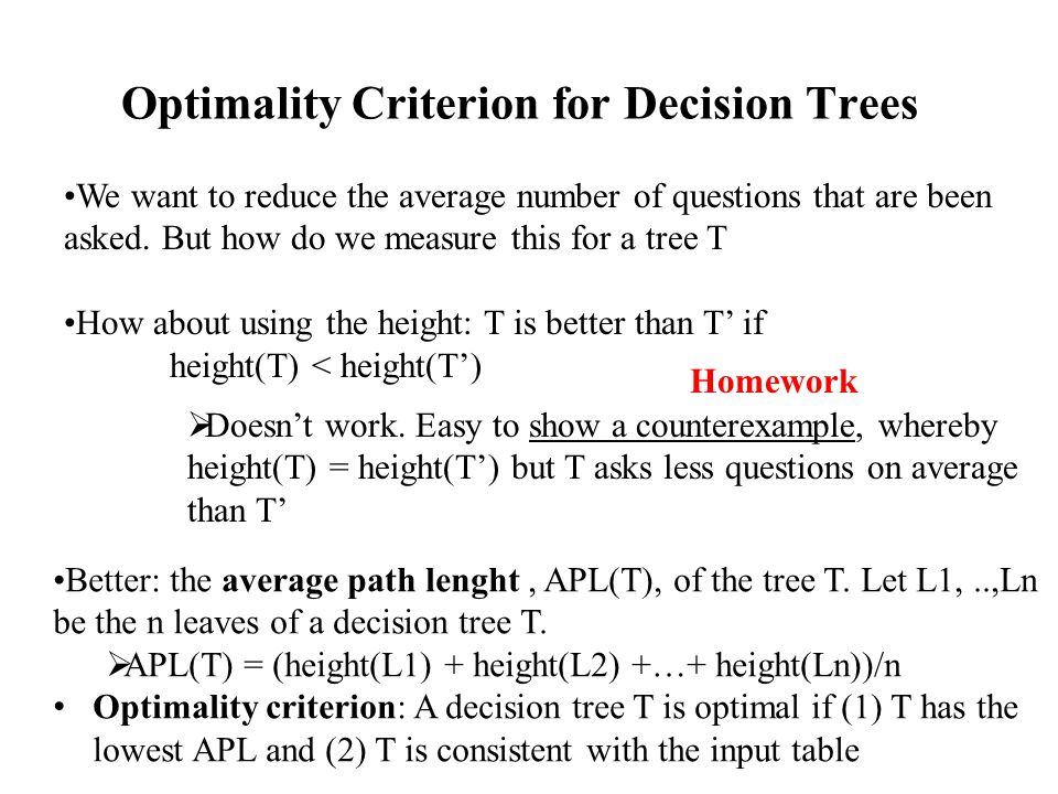 Optimality Criterion for Decision Trees
