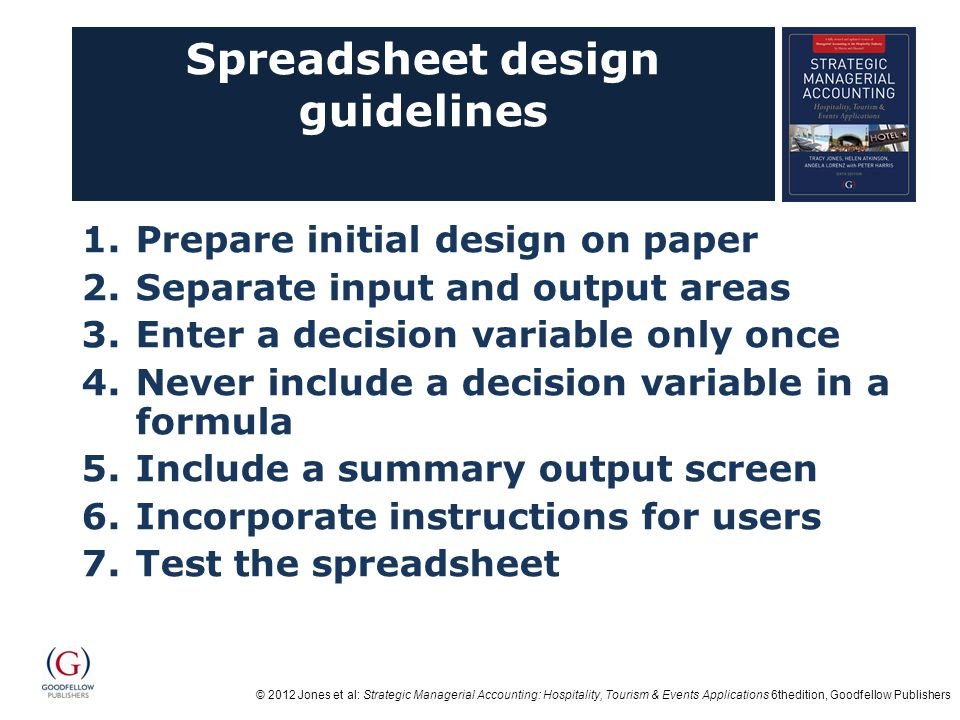 Spreadsheet design guidelines