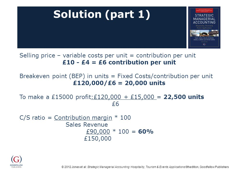 £10 - £4 = £6 contribution per unit