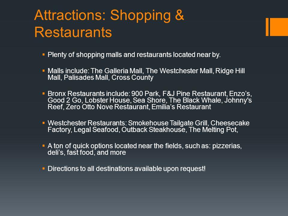 Attractions: Shopping & Restaurants
