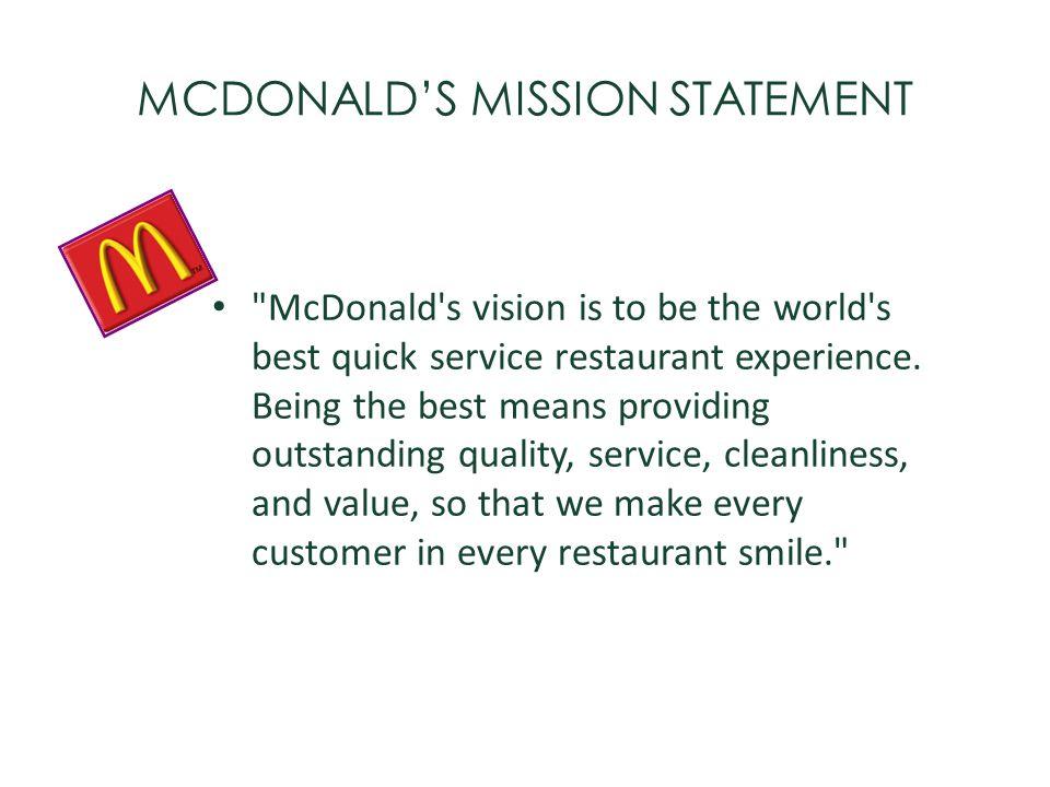 MCDONALD'S MISSION STATEMENT