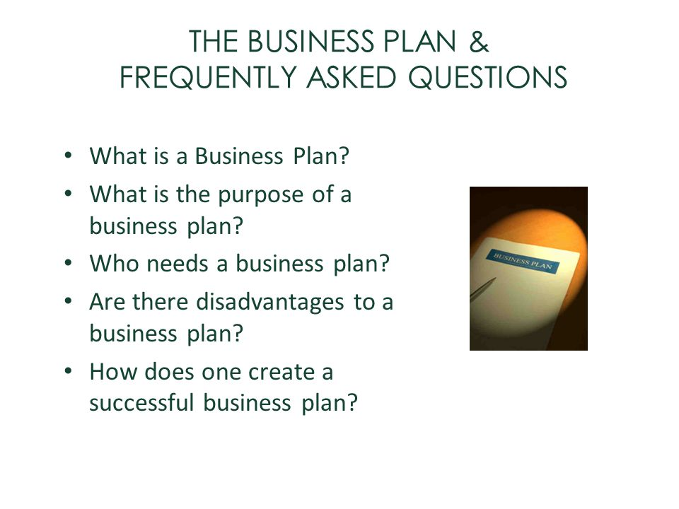 THE BUSINESS PLAN & FREQUENTLY ASKED QUESTIONS