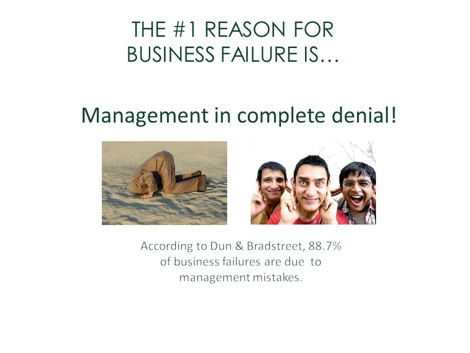 THE #1 REASON FOR BUSINESS FAILURE IS…
