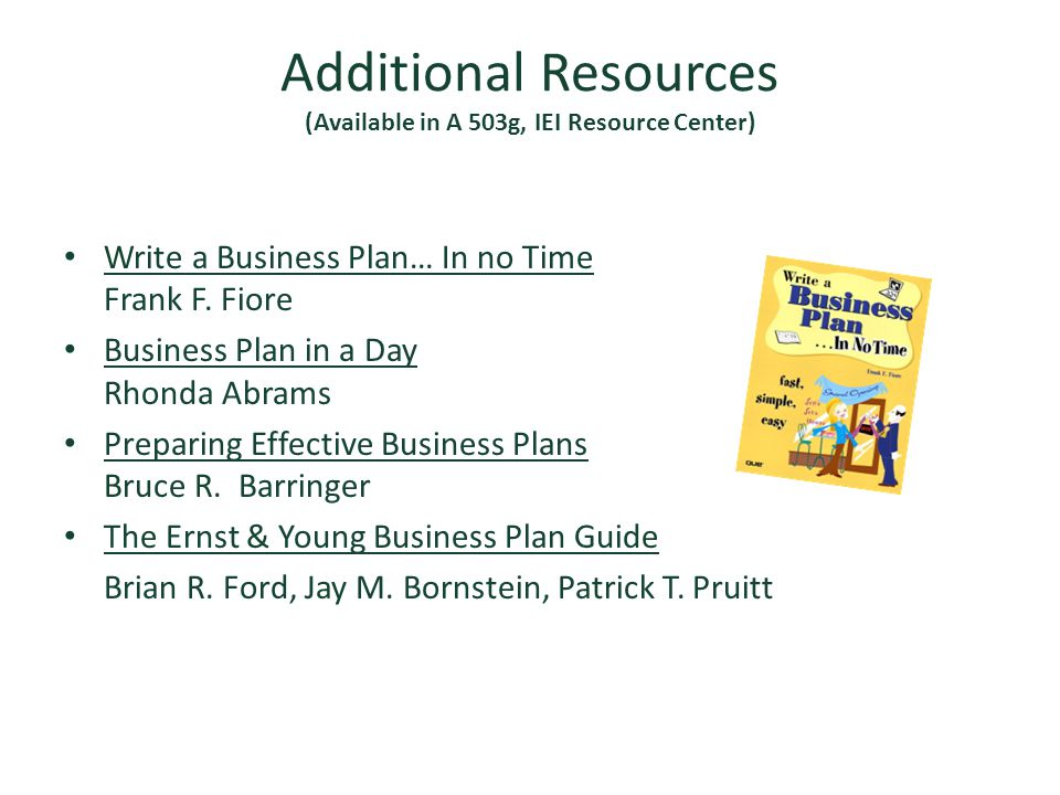 Additional Resources (Available in A 503g, IEI Resource Center)