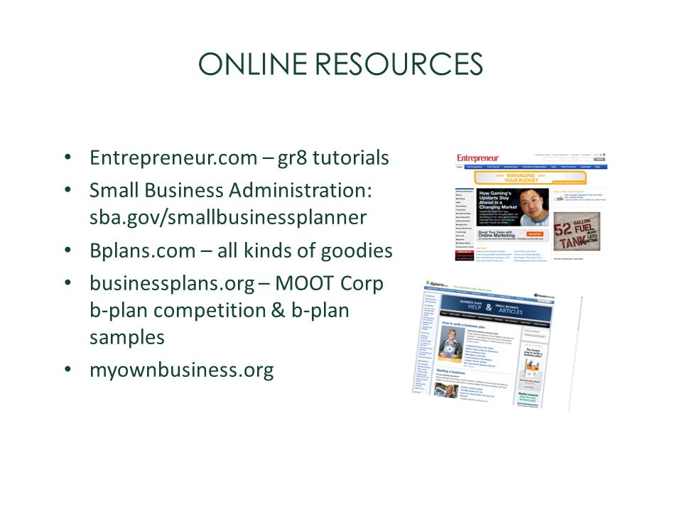 ONLINE RESOURCES Entrepreneur.com – gr8 tutorials