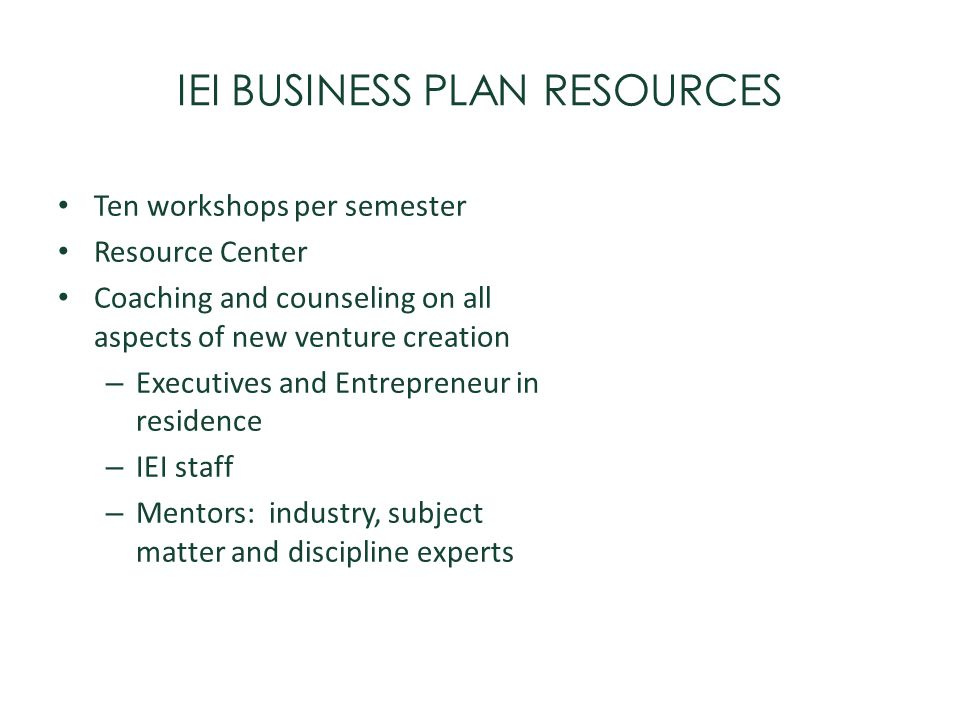 IEI BUSINESS PLAN RESOURCES