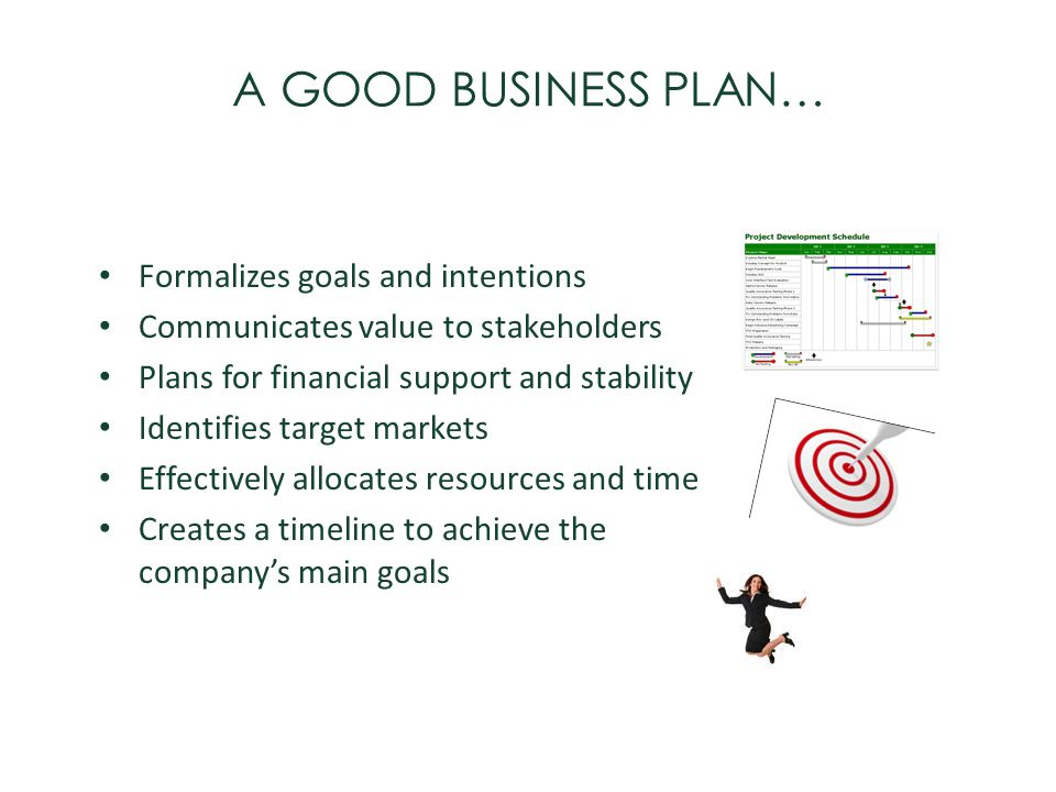 A GOOD BUSINESS PLAN… Formalizes goals and intentions
