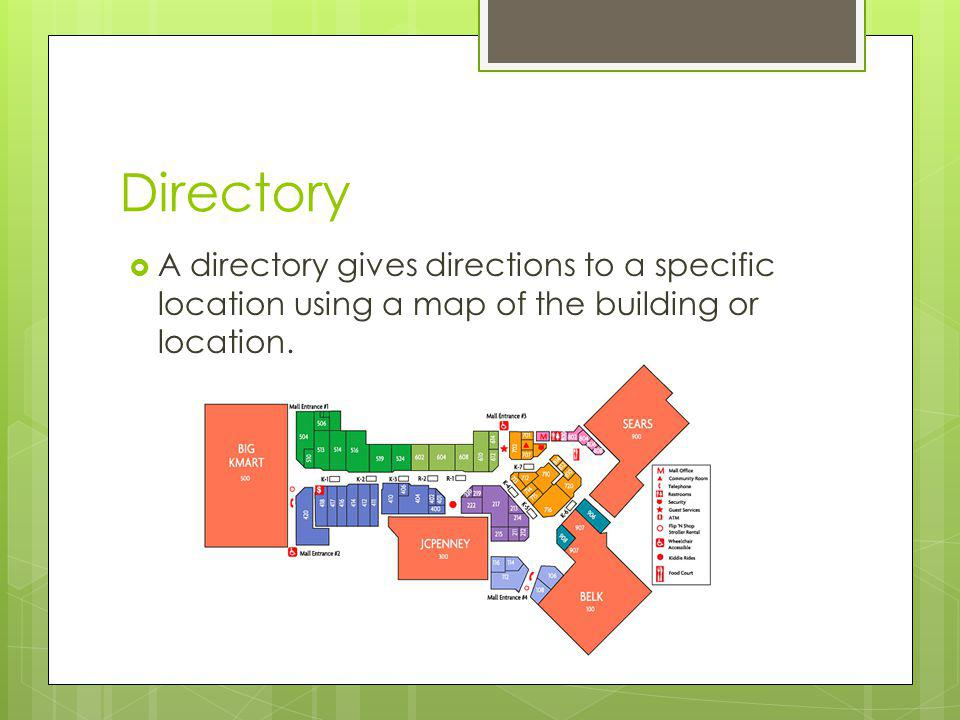Directory A directory gives directions to a specific location using a map of the building or location.