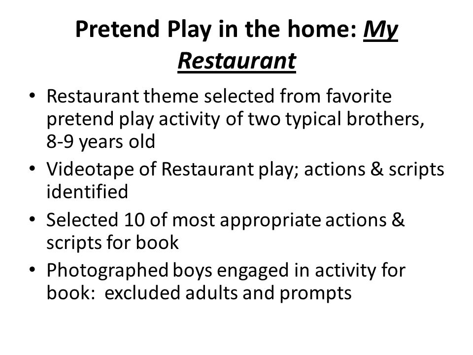 Pretend Play in the home: My Restaurant