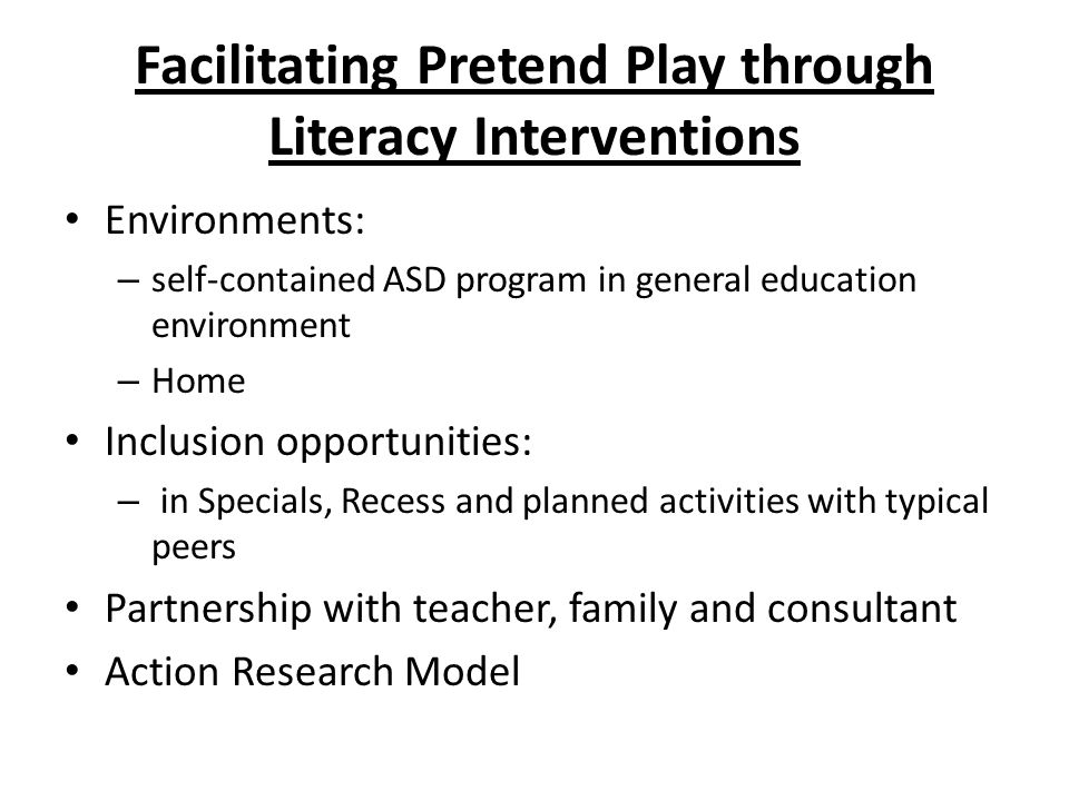 Facilitating Pretend Play through Literacy Interventions