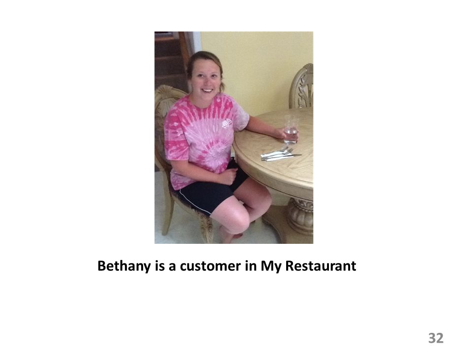 Bethany is a customer in My Restaurant