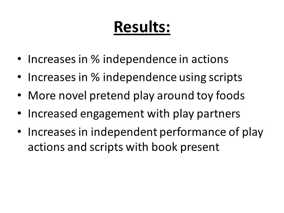 Results: Increases in % independence in actions