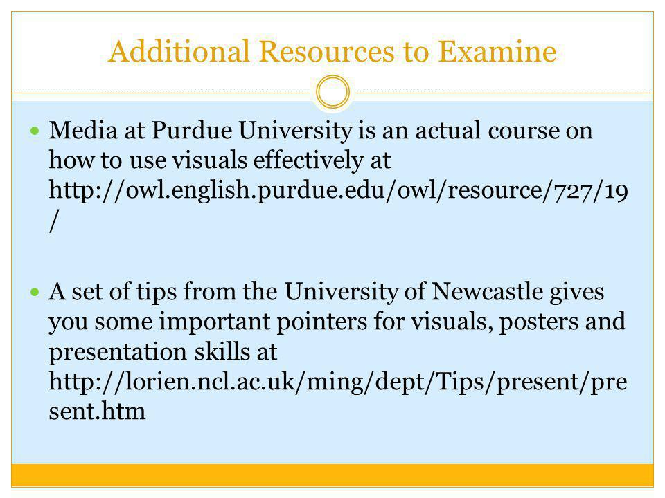 Additional Resources to Examine