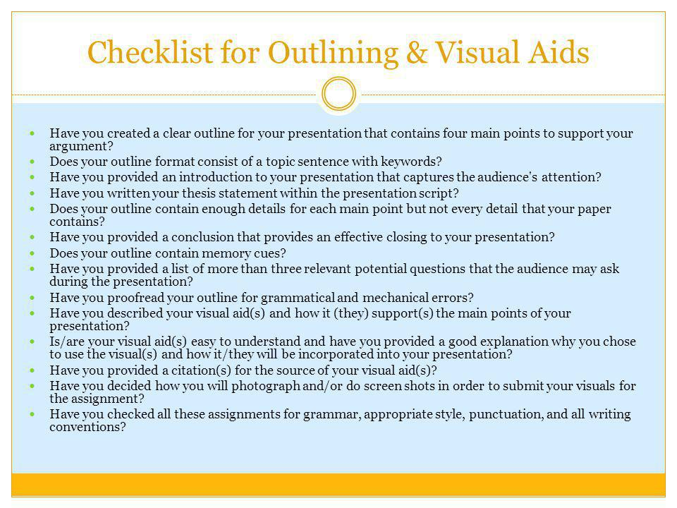 Checklist for Outlining & Visual Aids