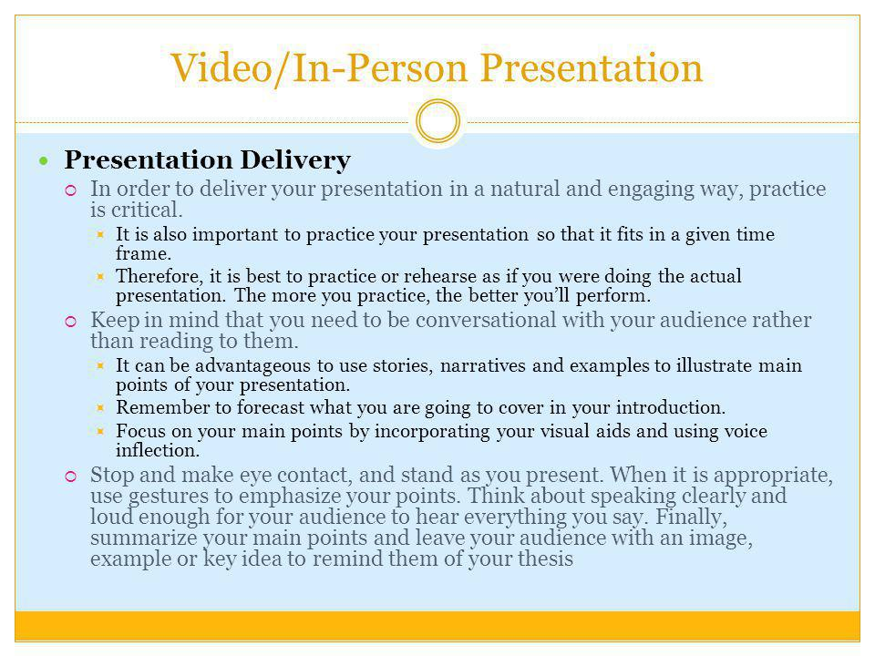Video/In-Person Presentation