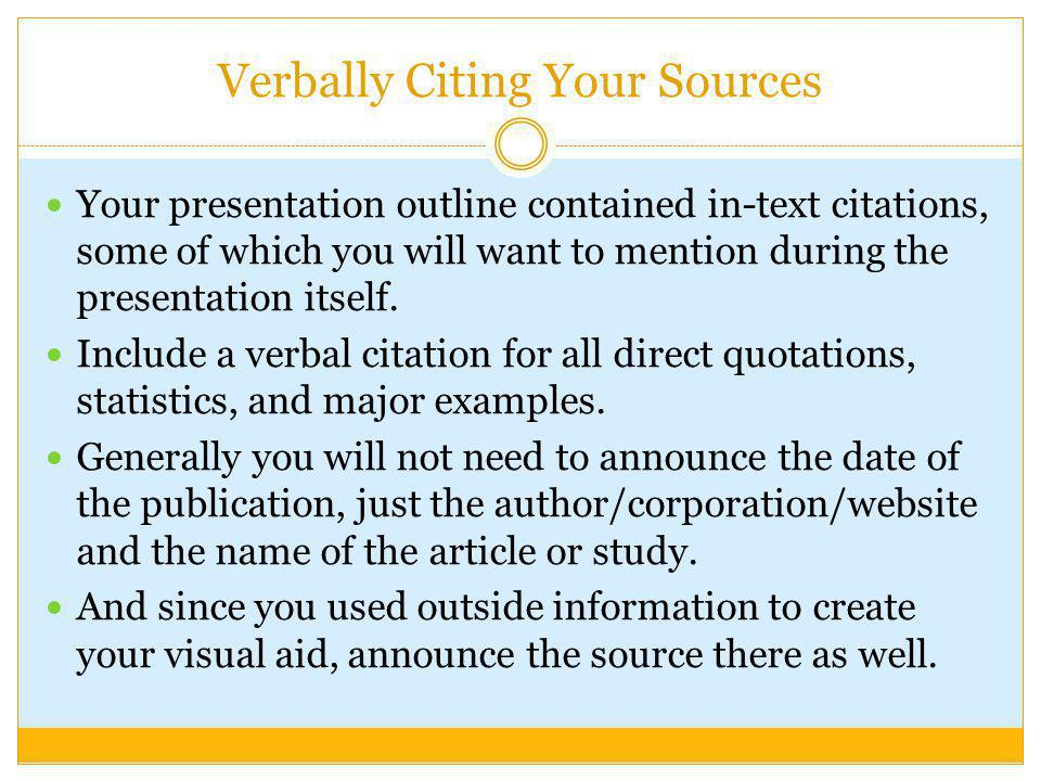 Verbally Citing Your Sources