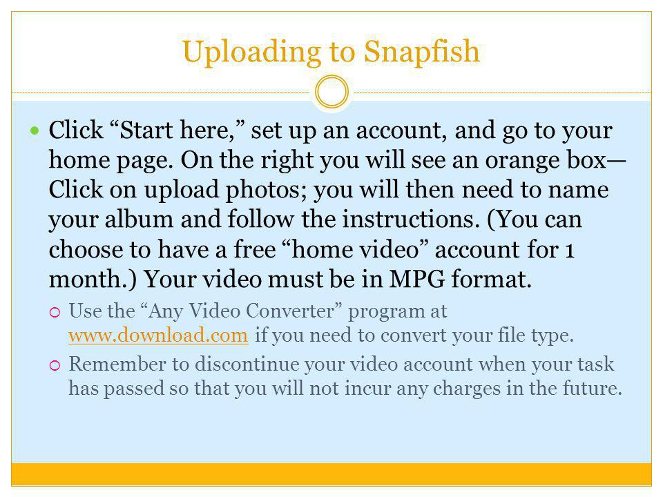Uploading to Snapfish
