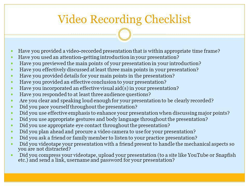 Video Recording Checklist