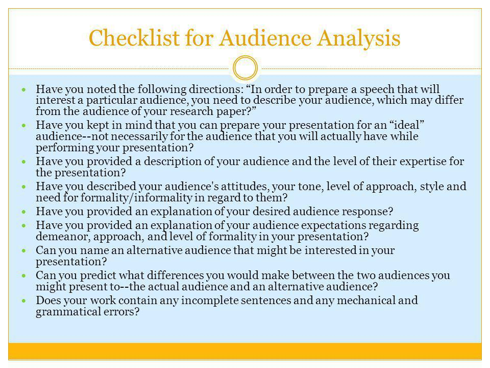Checklist for Audience Analysis