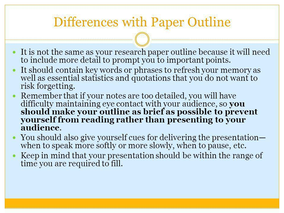 Differences with Paper Outline
