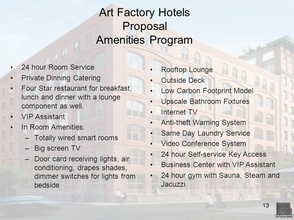 Art Factory Hotels Proposal Amenities Program