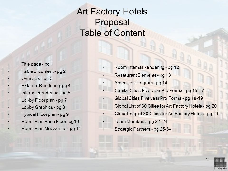 Art Factory Hotels Proposal Table of Content