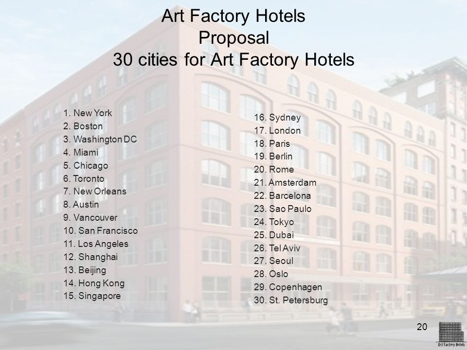 Art Factory Hotels Proposal 30 cities for Art Factory Hotels