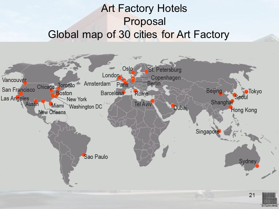 Global map of 30 cities for Art Factory Hotels