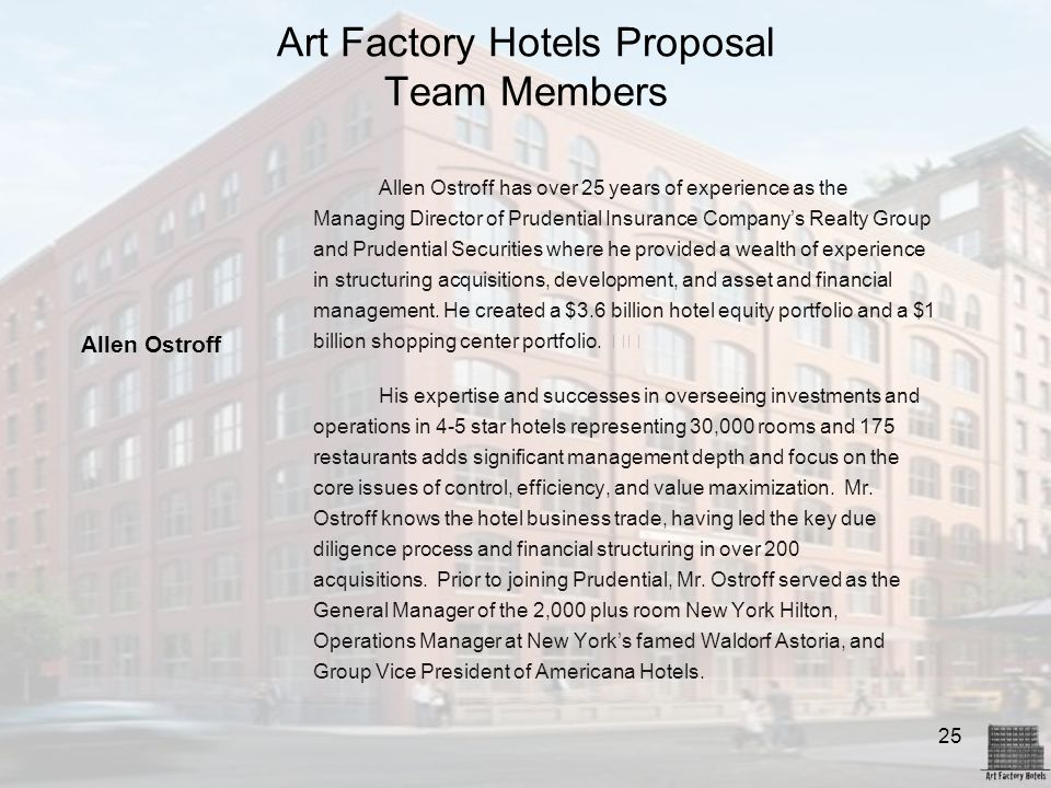 Art Factory Hotels Proposal Team Members