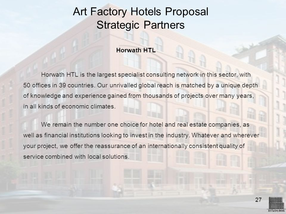 Art Factory Hotels Proposal Strategic Partners