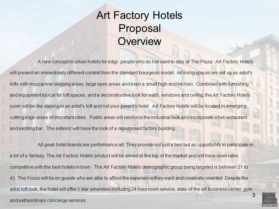 Art Factory Hotels Proposal Overview