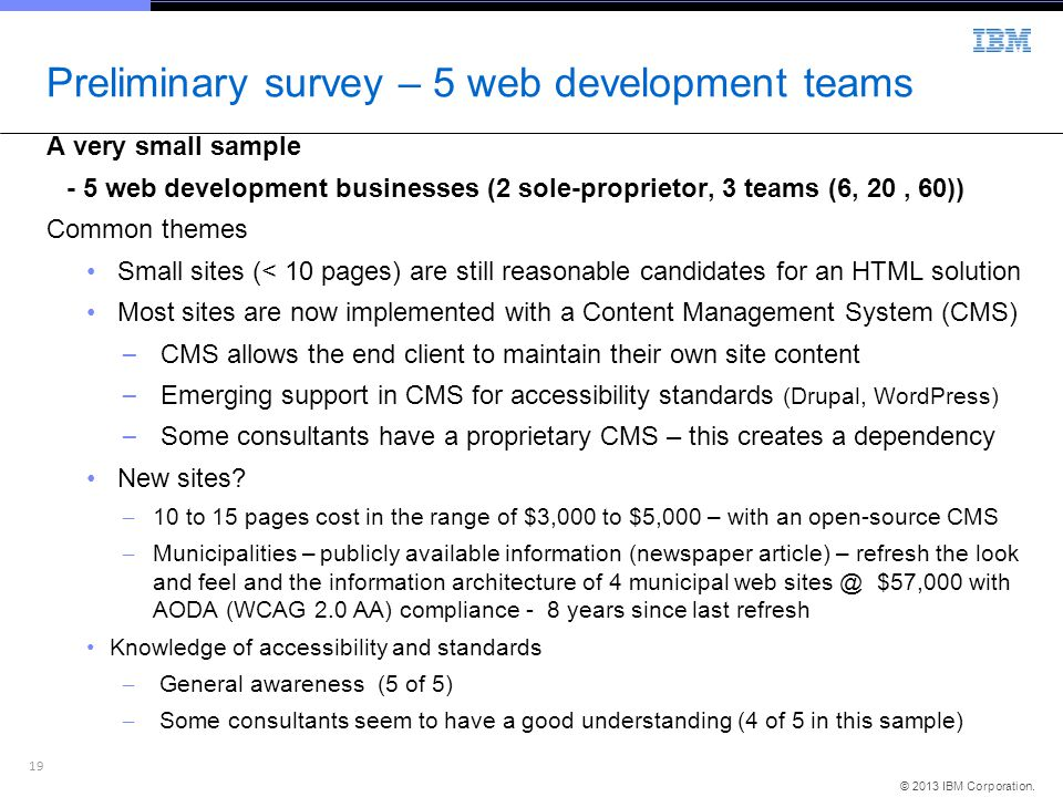 Preliminary survey – 5 web development teams
