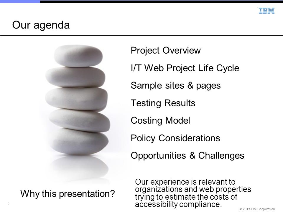 Our agenda Project Overview I/T Web Project Life Cycle