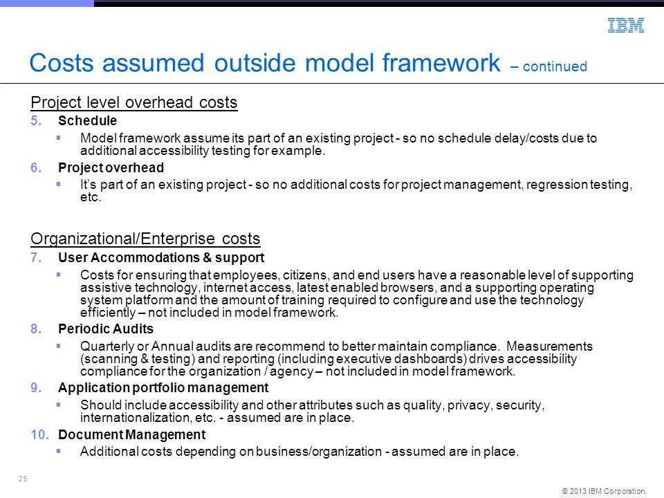 Costs assumed outside model framework – continued