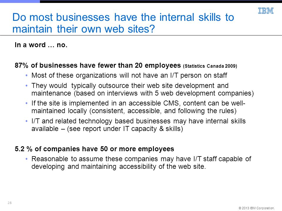 Do most businesses have the internal skills to maintain their own web sites