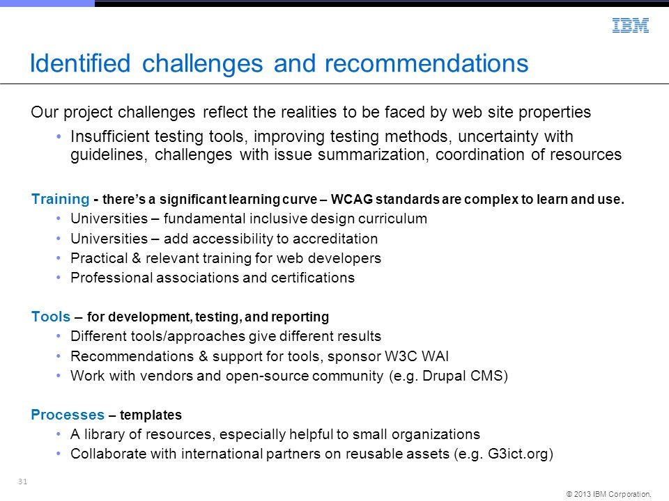 Identified challenges and recommendations